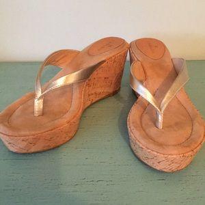EUC! Gold Wedge Sandal